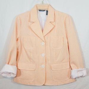 Orange & White striped button front blazer